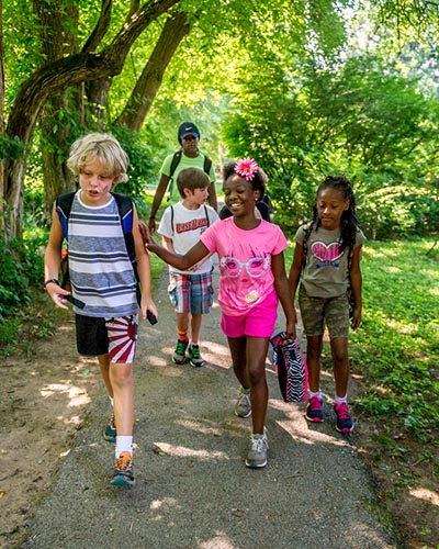 Group of kids walking on trail