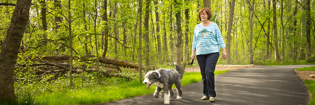 lady walking her dog on the pathways