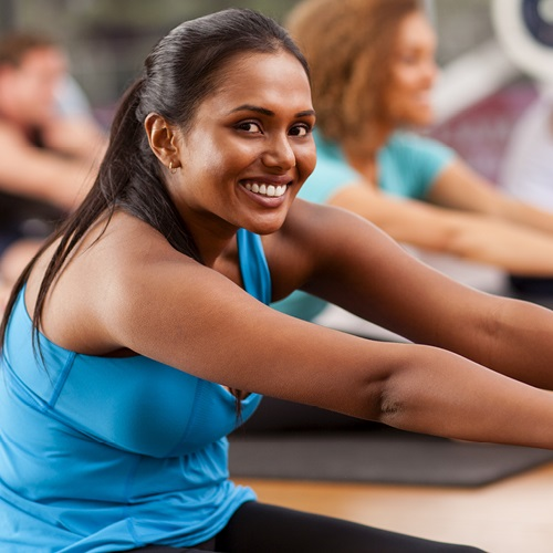 lady smiling and stretching